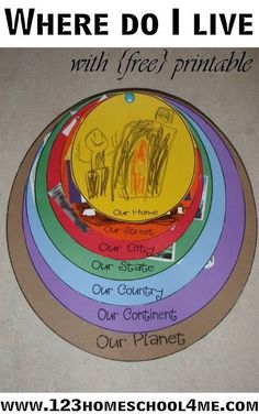Where do I live? This is such a great geography activity for kids of all ages - preschool, kindergarten, 1st grade, 2nd grade, 3rd grade, 4th grade (homeschool, geography)