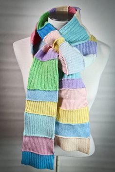 Colorful Pastel Patchwork Felted Wool Scarf Made from Sweater Cuffs. $30.00, via Etsy.