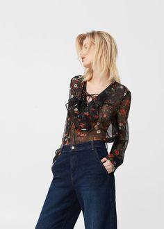 Blusa stampata volant - Camicie da Donna   MANGO Italia