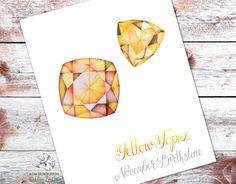 November birthstone Print. Printable Yellow Topaz by AlenaZenArt