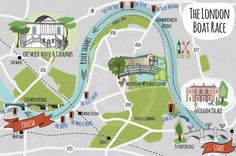Map illustration of the route & surrounding area in West London of the annual boat race between Oxford and Cambridge. Walking Map, Walking Routes, London Wetland Centre, London Map, West London, Putney Bridge, Mental Map, Country Maps, Photo Illustration