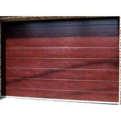 Usa de garaj sectionala, doorTECK, cu o linie centrala, mahon, 2500 x 2250 mm Simple Lines