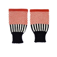 Back to Memphis | MARGOT & ME | Short Fingerless Gloves Holly | Colorful Wristwarmers with black and white stripes & red dots