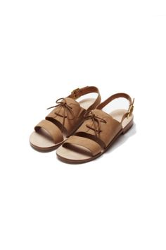 Peckham Sandal in Tan Goat Leather,   Goat leather sandal with lace detail and gold buckle closure. This shoe has a leather sole.  100% Leather