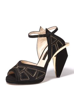 Women's Trend: Gold Hardware  (Chrissie Morris' ankle-strap sandal with gold metal inlays and heel overhang)