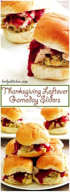 Want to relax after a long day of cooking a Thanksgiving meal? Use all your leftovers and make these gameday sliders. via @berlyskitchen