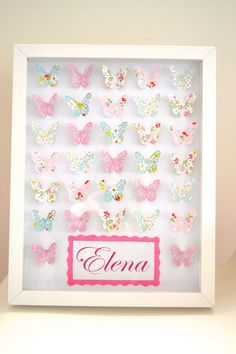 Beautiful Handmade personalised butterfly art. Can be personalised with babies name or name & birth date/ christening. This makes a beautiful personalised gift for any little girl.