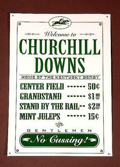 "11"" x 17"" Embossed metal Nostalgic Churchill Downs Sign"