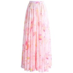 Chicwish Luscious Lily Watercolor Chiffon Maxi Skirt in Pink ($43) ❤ liked on Polyvore featuring skirts, pink, long floral skirts, pink skirt, pink maxi skirt, ankle length skirts and pink chiffon maxi skirt