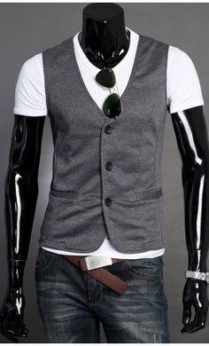 Modern Three Button Mens Vest