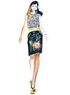 Nadine Ponce for Prada -illustration by Sunny Gu #fashion #illustration #fashionillustration