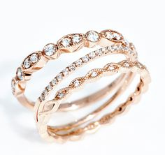 Wilson Diamonds: Rose Gold Band Trio
