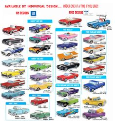 50's Classic Car Food Box, 34 Styles, Mix and Match, BUY 1 or 100, You Choose the Styles
