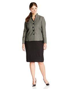 Le Suit Women's Plus-Size 4 Button Printed Jacket and Skirt Set, Black/Stone, 16 Le Suit http://www.amazon.com/dp/B00LX4JIAA/ref=cm_sw_r_pi_dp_JrA8vb0T1AS69