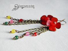 Enamel flower earrings with gemstones
