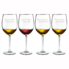 Wine Glasses with Cute Sayings.