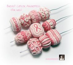 Breast Cancer Awareness polymer clay beads by @Plainview Vintage Hagan