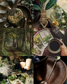 """The hedge witch makes use of various tools at their disposal. As they frequently travel to places where spirits dwell, they use of tarot, tea and candles to plan out their travels """"beyond the veil"""". Witch Cottage, Witch House, Lake Cottage, Witch Aesthetic, Aesthetic Collage, Aesthetic Dark, Aesthetic Fashion, Aesthetic Bedroom, Johanna Basford Enchanted Forest"""