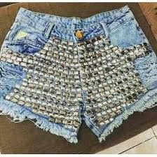 Resultado de imagem para shorts jeans bordado