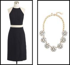 J.Crew Spring 2014 dress and statement necklace pick #colorblock #jcrew   http://www.ShoppingMyCloset.com