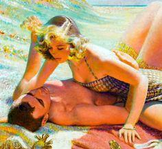 'Intimate Couple'… illustration for Redbook magazine by Edwin Georgi, 1950s.