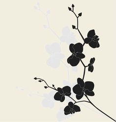 Illustration about Stylized orchid branch, vector illustration. Illustration of organic, nature, pattern - 9893078 Orchid Tattoo, Flower Tattoos, Orchid Drawing, Orchids Painting, Stencils, Tattoo Schwarz, Types Of Orchids, White Orchids, Branch Vector
