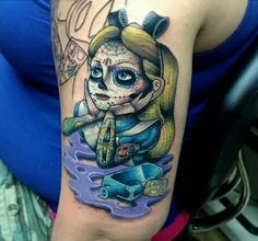Sugar skull Alice in Wonderland tattoo.. Love ❤