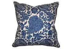 Barclay Butera | Batik Cotton 22x22 Pillow, Royal Blue | goose feather/down fill | 240.00 retail