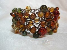 Amber and Olive Green Crocheted Wire Bracelet by HettyMarie