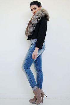 Fox fur cropped jacket @kukuvintage