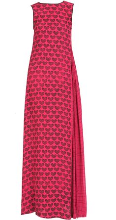 Heart print maxi dress by DEV R NIL. Shop at https://www.perniaspopupshop.com/whats-new/dev-r-nil-5027