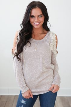 Magnolia Boutique Indianapolis - Knit Open Shoulder Crochet Top - Taupe, $36.00 (http://www.indiefashionboutique.com/knit-open-shoulder-crochet-top-taupe/)