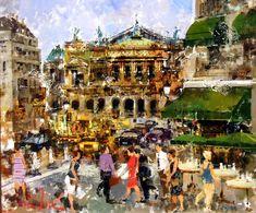 "Contemporary Spanish Painter Costa Vila ""Boulevard Haussman"""