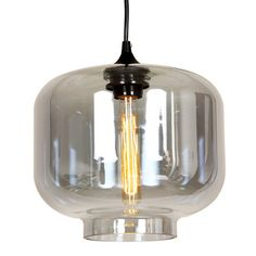 Showcasing a mouth-blown glass shade and jar silhouette, this striking pendant adds an industrial-inspired touch to your foyer or above the dining table.