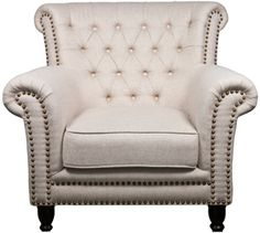 tufted chair with nailhead detail, elegant, relaxed, traditional design. upholstered in natural cotton, over long lasting high density foam. legs are wood with rubber feet. Cute Furniture, Bedroom Furniture, Modern Furniture, Apartment Furniture, Vintage Furniture, Tufted Chair, Formal Living Rooms, Occasional Chairs, Dream Decor