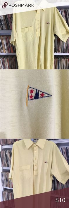 Vintage Pickering sailing yacht club polo shirt This is a nice super soft yellow polo shirt. It has a nautical flag over the breast. It's in good shape. Please know that with all vintage clothes there may be small stains or imperfections that I did not initially detect. Vintage Shirts Polos