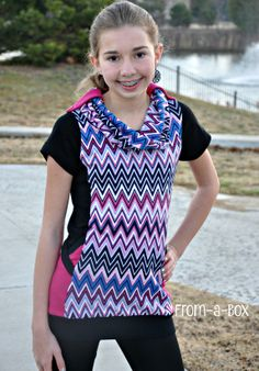 Cowl Neck Top for a Teen   Hibernis PDF Pattern by Sofilantjes   a Stylish & Fitted top in knit fabric with a removable cowl or scarf at the neck, princess seams on the side, and pockets on the sides.  Perfect to Sew for a Teen.