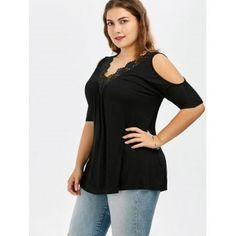 Plus Size Lace Trim V Neck Cold Shoulder Flowy Top - BLACK BLACK