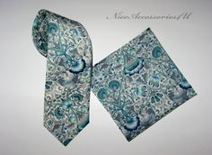 7276ae833a4b Men's floral necktie Liberty print tie Slim wedding necktie Grey slim tie  for men Turquoise tie floral Lodden
