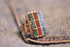 Turquoise & Coral Zuni Inlay Ring Size 9 1/4 to 9 1/2 Mens Silver Native American Cactus Flower Edge 1 Inch Long Vintage Southwest Beauty by gemforjoy on Etsy
