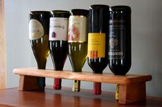 Wood Riddling Rack - 5 Bottle Wine Holder - Unique Personalized Wedding Gift - 5th Anniversary Gift - Mothers Day Gift W109-5. $62.00, via Etsy.