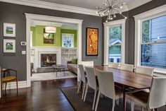 Awesome Grey And White Dining Room Ideas 32 With Additional . Dining Room Decor grey and white dining room decor Dining Room Colors, Dining Room Walls, Dining Room Design, Dining Room Furniture, Living Room, Room Chairs, Design Kitchen, Craftsman Dining Room, Green Rooms