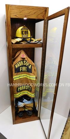 Fire fighter, Shadowbox memorabilia, Custom Woodwork,Childrens furniture