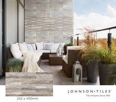 Outdoor Sofa, Outdoor Furniture, Outdoor Decor, Johnson Tiles, Cladding Design, Wall And Floor Tiles, Glazed Ceramic, Tile Design, Natural Stones