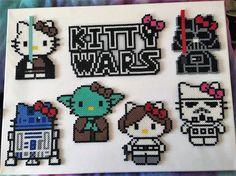 Star Wars Kitty Wars Perler Bead Art Perler Bead Templates, Diy Perler Beads, Perler Bead Art, Pearler Bead Patterns, Perler Patterns, Hello Kitty, Art Perle, Motifs Perler, Hama Beads Design