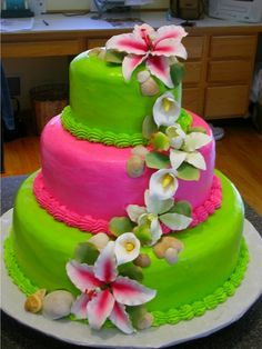 all buttercream except for sugar paste flowers. They got married in the Carribean and wanted a tropical cake for their 'stateside' reception. Pretty Cakes, Beautiful Cakes, Amazing Cakes, Round Wedding Cakes, White Wedding Cakes, Tropical Desserts, Tropical Party, Sugar Paste Flowers, Green Cake