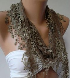 Brown  Green / Elegance  Shawl / Scarf with Lacy Edge by womann, $16.00