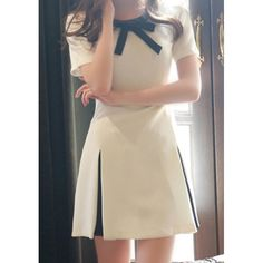 Stylish Bow Tie Collar Color Block Short Sleeve Dress For Women
