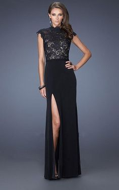 Wonderful Sheath High Neck Floor-length With Lace Dress, Prom Dresses Online