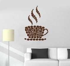 Vinyl Wall Decal Coffee Beans Cup House Shop Kitchen Stickers (ig3393)